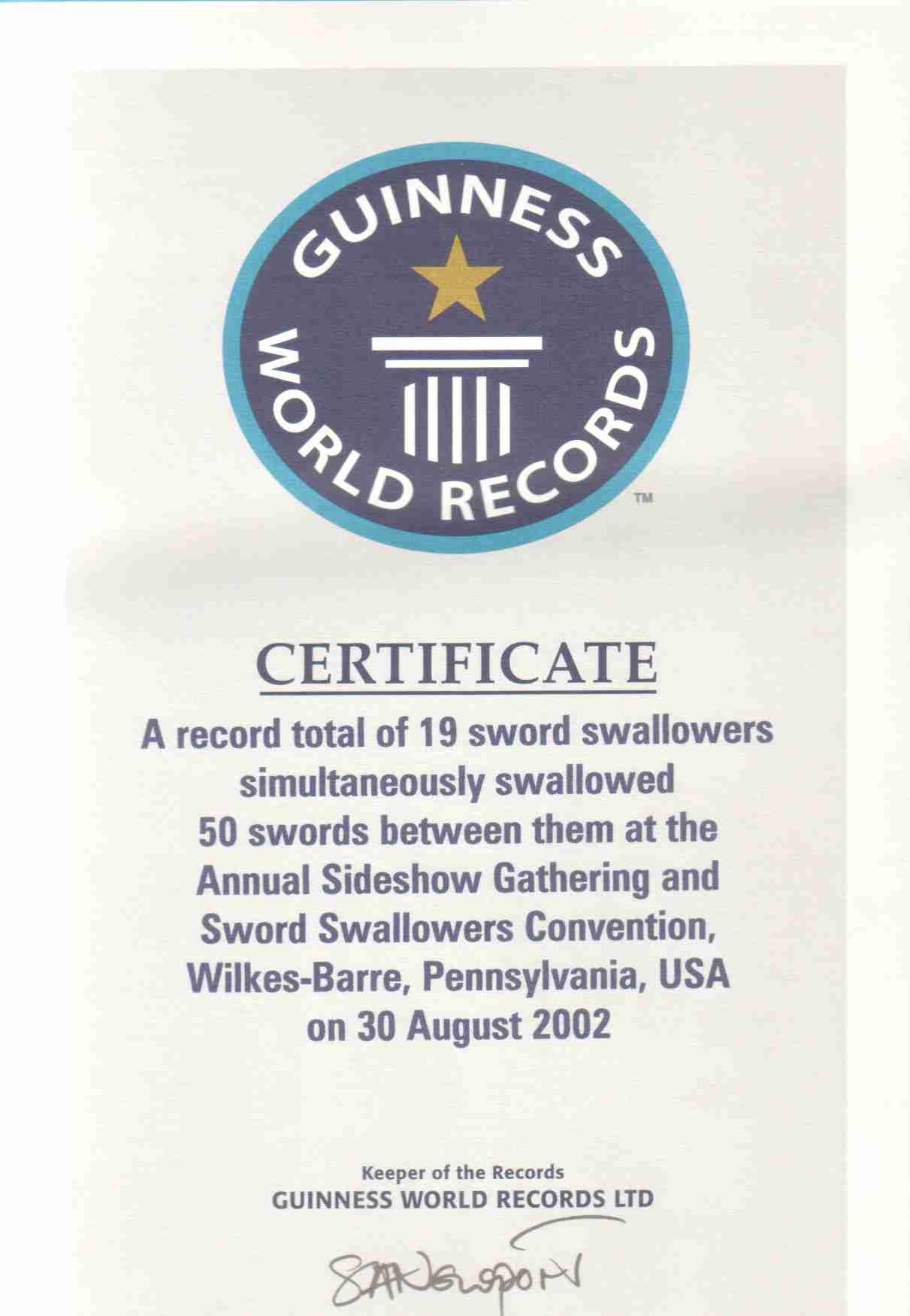 this record was certified an official guinness world record